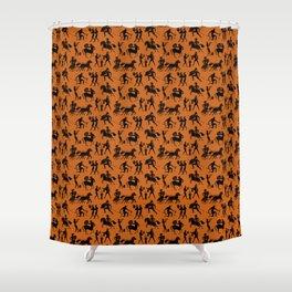 Greek Figures // Dark Orange Shower Curtain