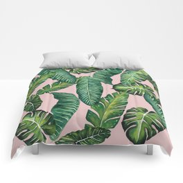 Jungle Leaves, Banana, Monstera II Pink #society6 Comforters