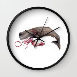 Epic battle between the sperm whale and the giant squid Wall Clock