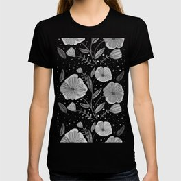 Spring flowers - black and white T-shirt