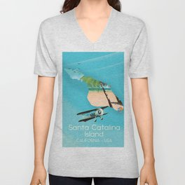 Santa Catalina Island California USA Flight poster Unisex V-Neck