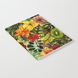 Tropical Vintage Exotic Jungle Flower Flowers - Floral watercolor pattern Notebook