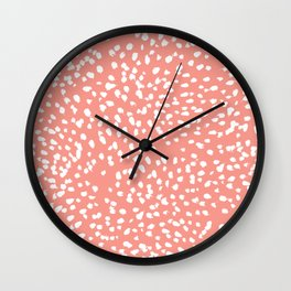 Coral and white minimal painted dots pattern dotty print decor for minimal home office dorm college Wall Clock