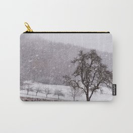 Old pear tree on a wintery meadow Carry-All Pouch
