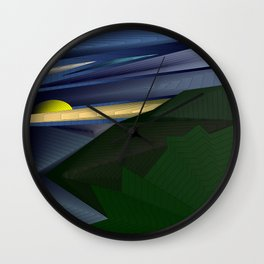 Strange psychedelic landscap with stylised mountains, sea and yellow Sun. Wall Clock