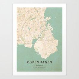 Copenhagen, Denmark - Vintage Map Art Print