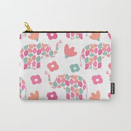 cute colorful abstract pattern background with leaves elephants and flowers Carry-All Pouch