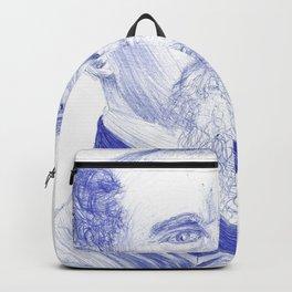 Charles Dickens Portrait In Blue Bic Ink Backpack