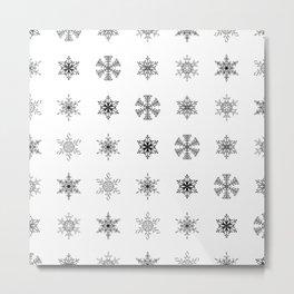 Snowflake Pattern - Black and white winter snowflake pattern artwork Metal Print