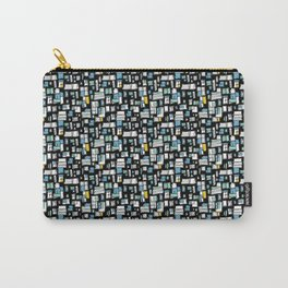 Black, Blue and White Abstract Brick Pattern Carry-All Pouch