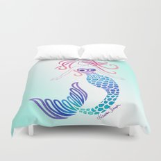 Tribal Mermaid with Ombre Turquoise Background Duvet Cover