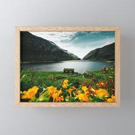 cottage in saksun faroe islands Framed Mini Art Print