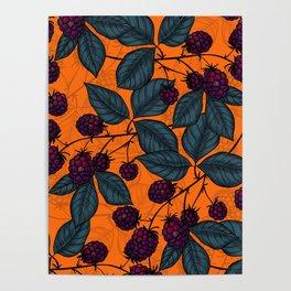 Blackberry hand- drawn pattern Poster