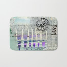 Blue Grey Abstract Art Collage Bath Mat