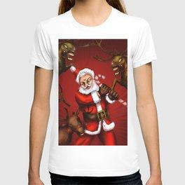 Santa vs zombie reindeer T-shirt