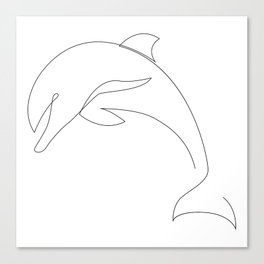 one line dolphin Canvas Print