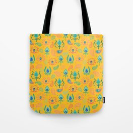 Yellow Ikat Doodle Pattern Tote Bag