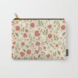 Coral Floral Carry-All Pouch