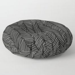 Herringbone Cream on Black Floor Pillow