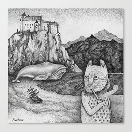 The Whale, The Castle & The Smoking Cat Canvas Print