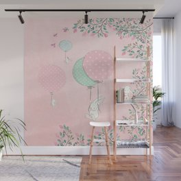 Cute flying Bunny with Balloon and Flower Rabbit Animal on pink floral background Wall Mural
