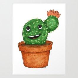 Smiling Teddy Bear Cactus Comic Art Print
