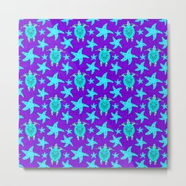 turtles and starfish seamless whimsical cute marine tribal ethnic artistic ocean purple pattern Metal Print