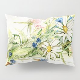 Bouquet of Wildflowers Original Colored Pencil Drawing Pillow Sham