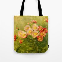 postcard Tote Bags featuring Vintage Postcard by Connie Goldman