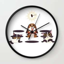 Cute Cats Dogs on Sunny Day Wall Clock