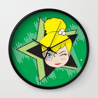 tinker bell Wall Clocks featuring I Am Smart - Tinker Bell by AmadeuxArt