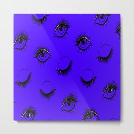 Glamour Eyebrows Pattern Eye Leash Metal Print
