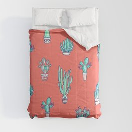 Little Cactus Pattern on Living Coral Comforters
