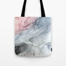 Pastel Blush, Grey and Blue Ink Clouds Painting Tote Bag