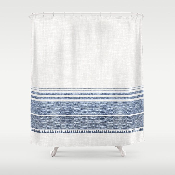 FRENCH LINEN CHAMBRAY TASSEL Shower Curtain