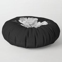 geranium in bw Floor Pillow