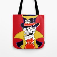 steam punk Tote Bags featuring Steam Punk Vampire Skull by J&C Creations