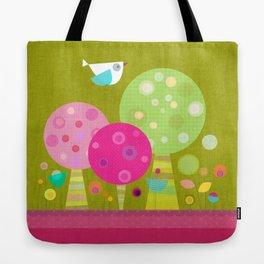Petit Oiseau sur Arbres Colorés Tote Bag