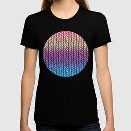 Rainbow Gradient Chunky Knit Pattern T-shirt