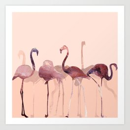 Summer Flamingos Art Print