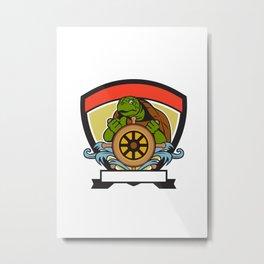 Ridley Turtle At Helm Crest Retro Metal Print