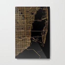 Black and gold Miami map Metal Print