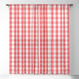 Large Christmas Red and White Gingham Check Plaid Sheer Curtain