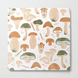 Edible Mushrooms seamless pattern. Linocut old style. Hand drawn Warm colors.  Metal Print