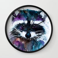 raccoon Wall Clocks featuring Raccoon by Slaveika Aladjova