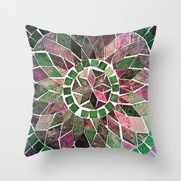 Pink & Green Stone Flower Throw Pillow