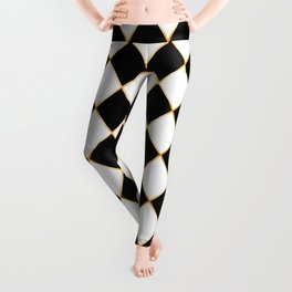 Chess board with golden threads Leggings