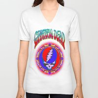 grateful dead V-neck T-shirts featuring Grateful Dead #10 Optical Illusion Psychedelic Design by CAP Artwork & Design