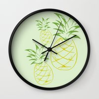pineapple Wall Clocks featuring Pineapple by Tanya Thomas