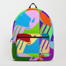 Poster with grilled olive with oil drop on the fork in pop art style Backpack